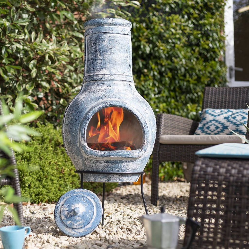 Large Blue Clay Chimenea