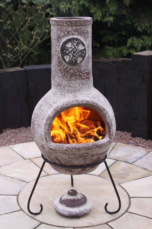 Large Celtic Style Clay Chimenea