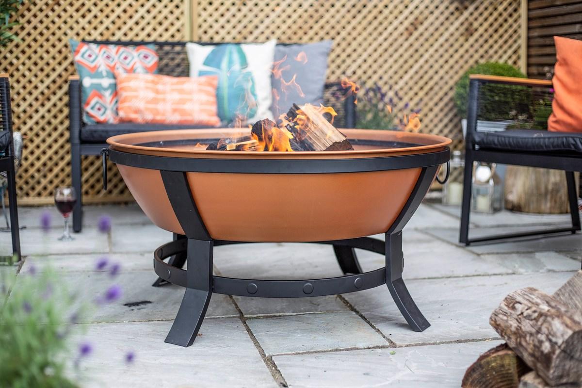 Large Copper Colour Firepit