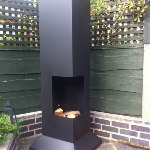 Large deluxe contemporary chimenea with bbq grill - Chimeneas orus ...