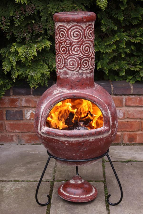 Mexican Clay Chimenea Sprial Red Chiminea Patio Heater Firepit Garden Chimenea Ebay