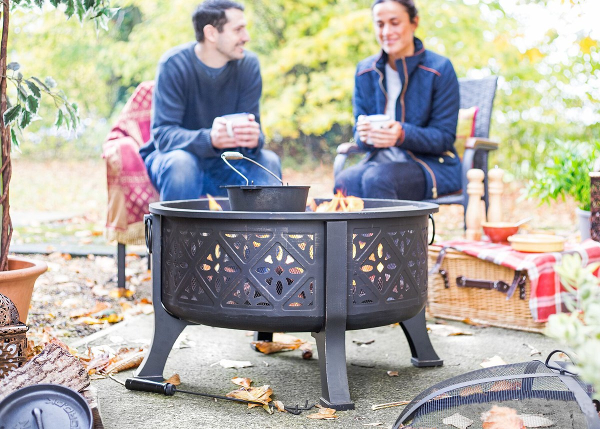 Large Moroccan Style Fire Pit with BBQ Grill