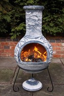 Large Blue Mexican Clay Chimenea Patio Heater