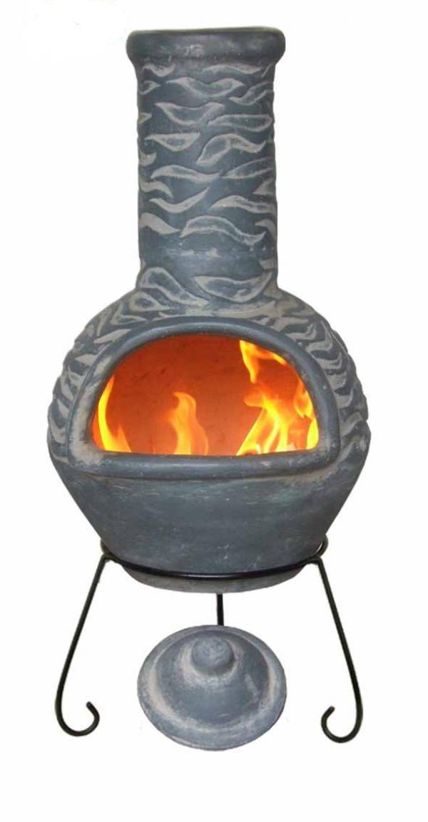 Large Olas Mexican Clay Chimenea Patio Heater