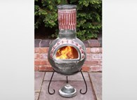 Large Plumas Mexican Clay Chimenea
