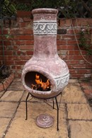 Large Red Clay Chimenea with Wave Design