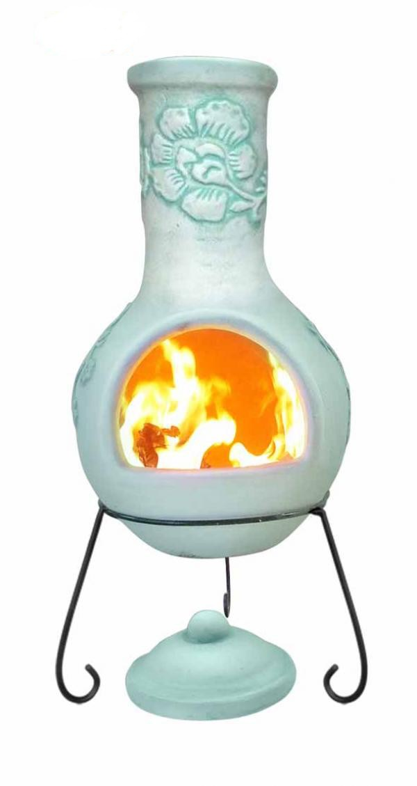 Large Rosas Mexican Clay Chimenea