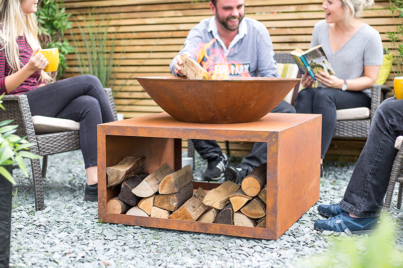 Large Rusty Shabby Chic Firepit with Log Stand