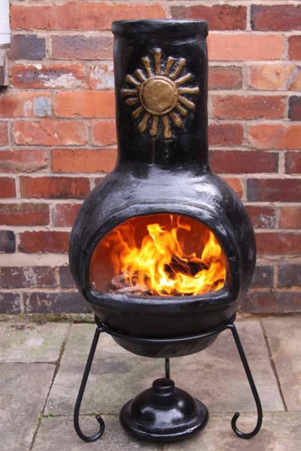 Mexican Clay Chimenea Sol Chiminea Patio Heater Fire Bowl
