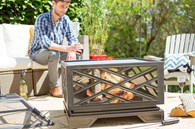 Large Square Steel Fire Pit with BBQ Grill