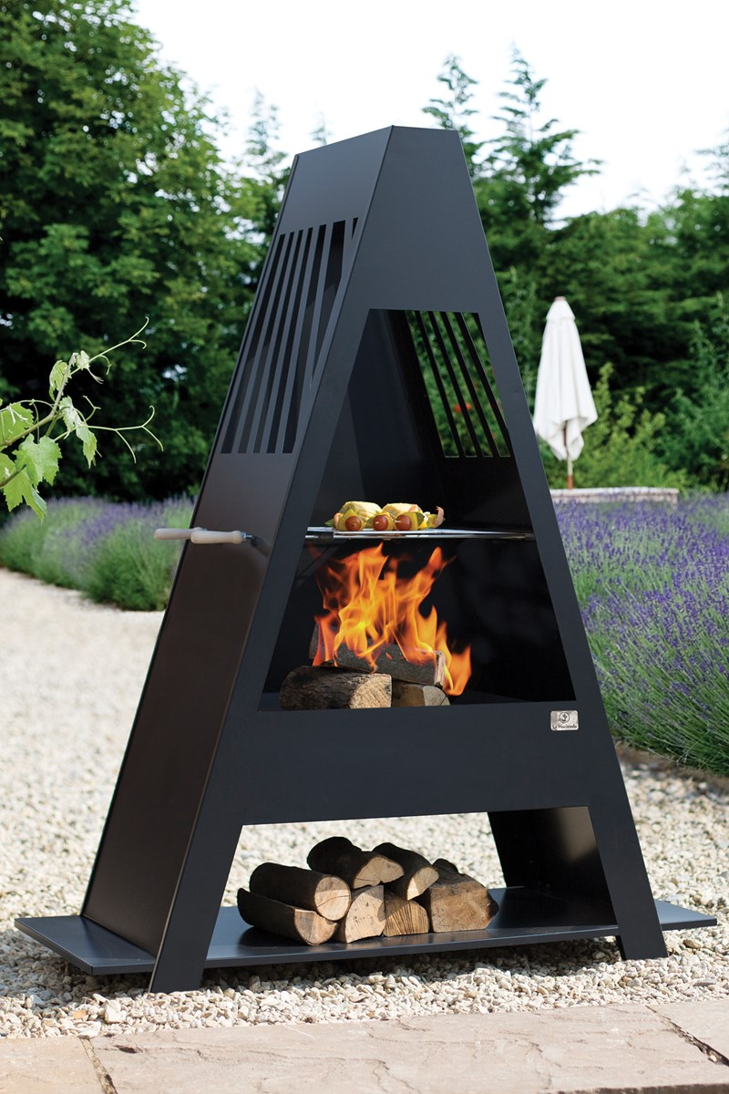 Large Steel Chimenea With Bbq Grill And Log Rack