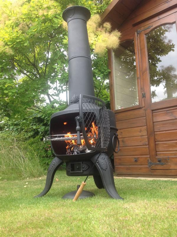 Large Steel and Cast Iron Chimenea Barbeque in Bronze or Black