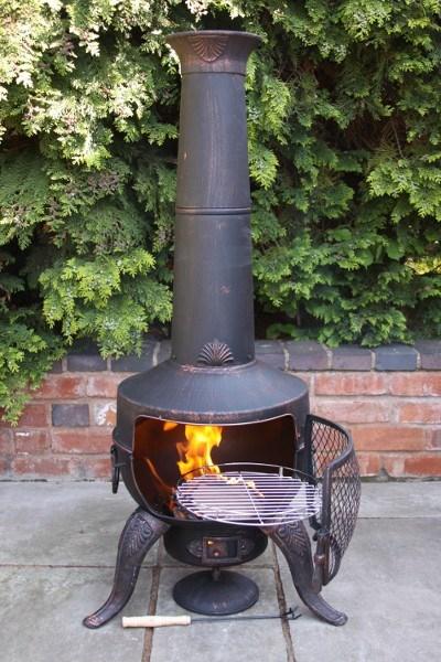Large tia steel and cast iron chimenea barbeque in bronze - Chimeneas orus ...