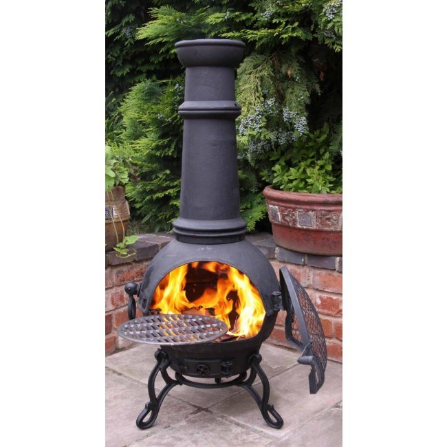 Cast Iron Chimenea With BBQ in Black