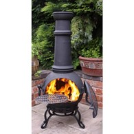 Toledo Cast Iron Chimenea With BBQ in Black
