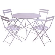 Lilac Folding Metal Dining Set