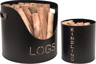 Log and Kindling Bucket Set of Two