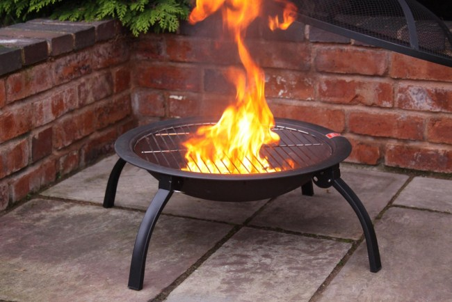 Large Portable Fire Pit : Lucio portable fire bowl with bbq and carry bag