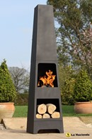 Malmo Steel Chimenea with Log Store