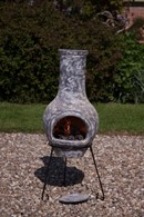 Medium Clay Chimenea In Slate Grey