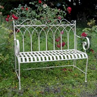 Metal Shabby Chic Bench Cream or Green
