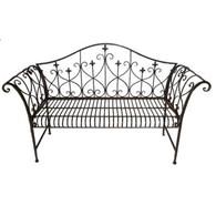 Metal Shabby Chic Vintage Antique Brown Garden Bench