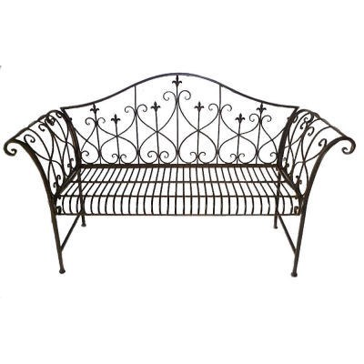 Metal Shabby Chic Vintage Antique Brown Garden Bench