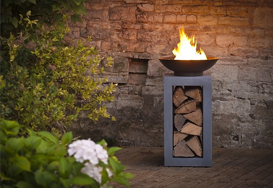 Modern Firepit with Built in Log Store 2 Sizes