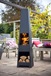 Modern Steel Chimenea with Log Store