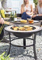 Mosaic Firepit with BBQ Grill and Spark Guard