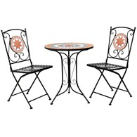 Mosaic Tiled Bistro Set Terracotta