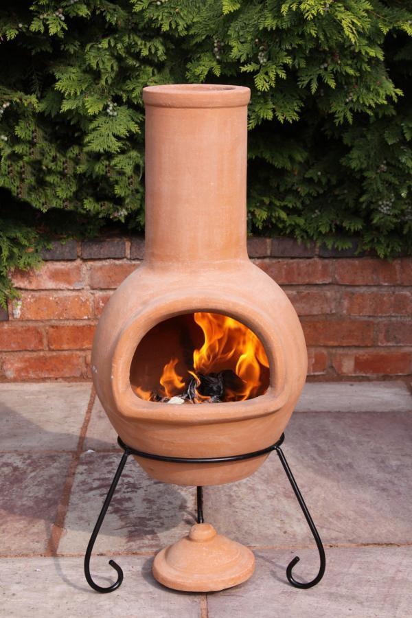 Mexican Clay Chimenea Large Terracotta Chiminea Patio Heater Fire Pit Ebay
