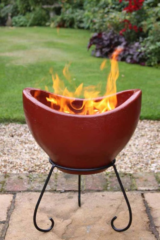 Fire Made Of Clay : Nebulo clay fire bowl patio heater pit garden