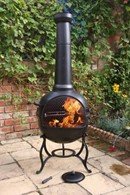 Ohio Enamel Coated Steel Chimenea with BBQ