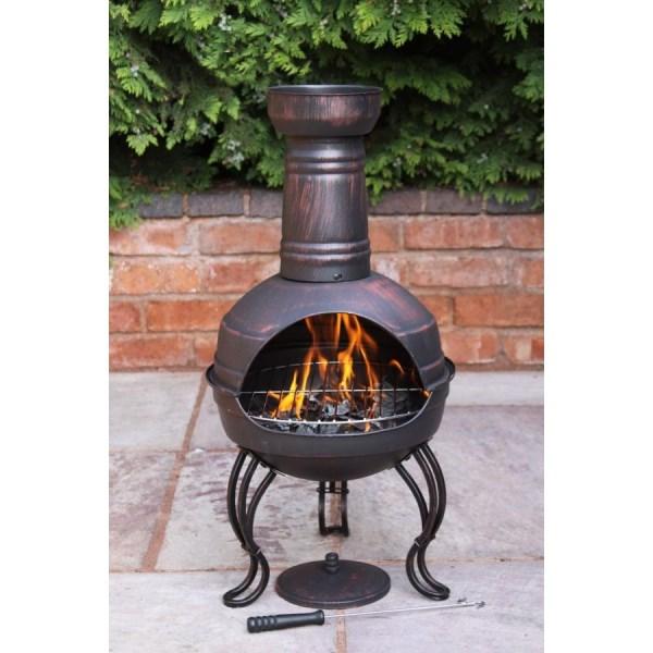 Steel chimenea patio heater converts to barbeque bbq fire - Chimeneas orus ...