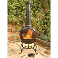 Ohio Steel Chimenea with BBQ in Bronze