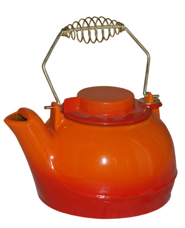 Orange Enamel Cast Iron Kettle