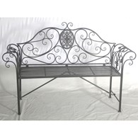 Ornate Steel Garden Bench Grey