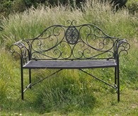 Ornate Steel Garden Bench Grey