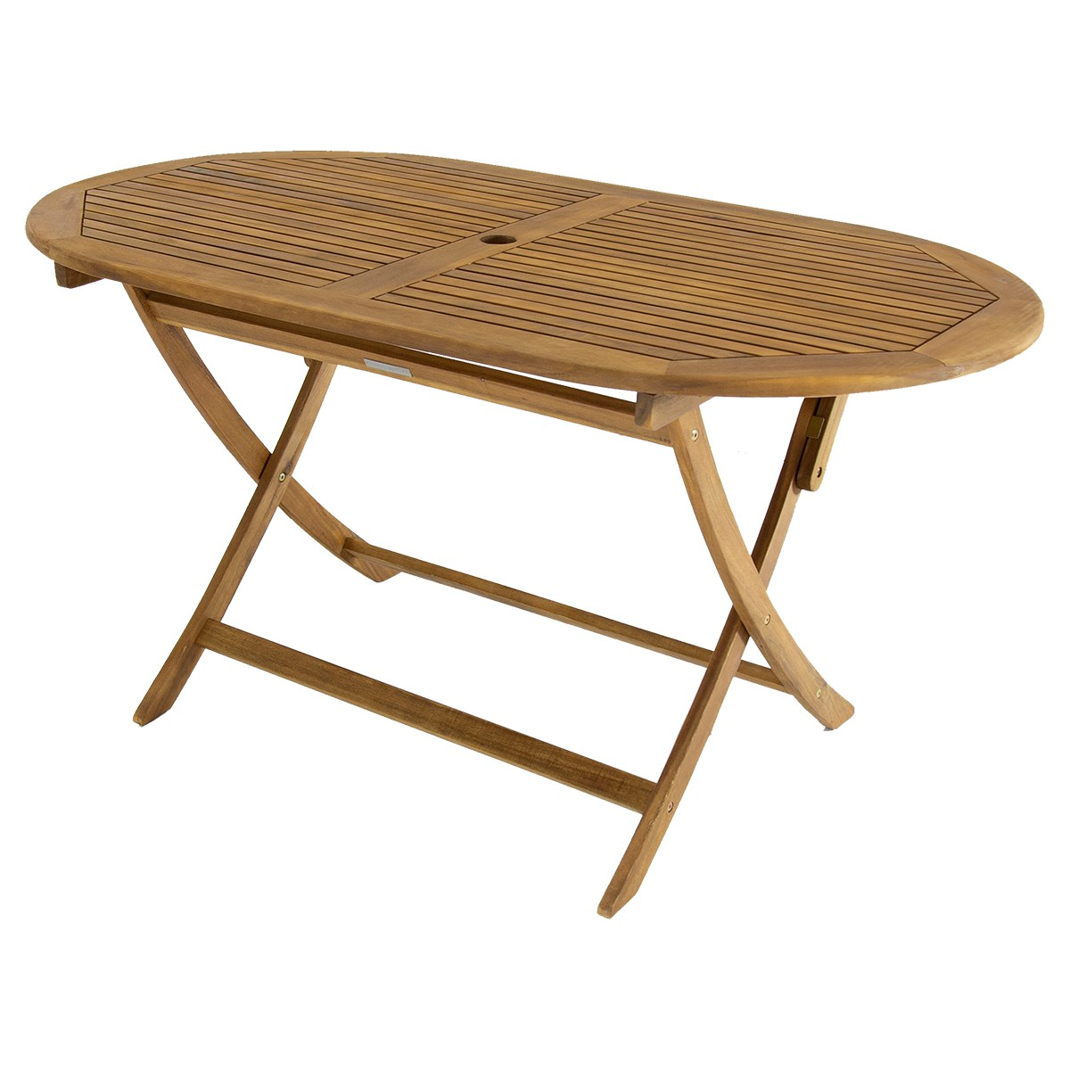 Oval Wooden Garden Table with Parasol Hole