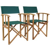 Pair of Folding Directors Chairs Green or Cream