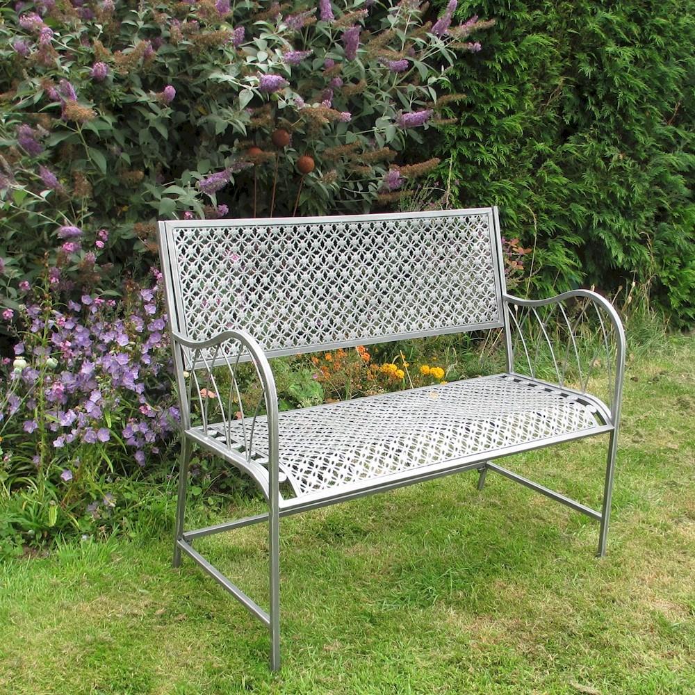 Pewter Shabby Chic Metal Garden Bench