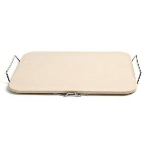 "Pizza Craft Rectangle Ceramic Pizza Stone with Wire Frame 15.2"" x 12.1"""