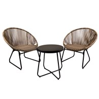 Poly Rattan Bistro Set In Grey or Natural