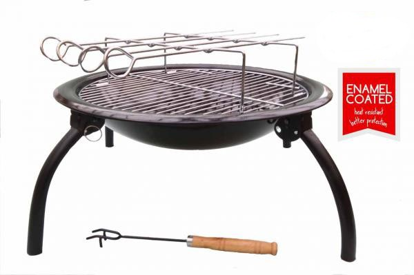 Superb Portable Fire Bowl With BBQ Rotisserie And Carry Bag
