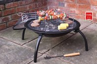 Portable Fire Bowl With BBQ Rotisserie and Carry Bag