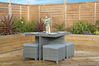 Rattan and Wood Cube Garden Dining Set