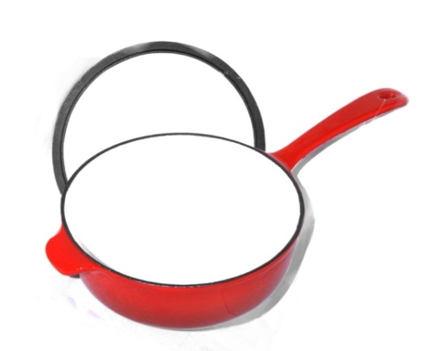 red enamel cast iron skillet cooking pot saucepan with lid