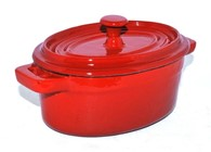Red or Black Enamel Cast Iron Ramekin Stock Pot