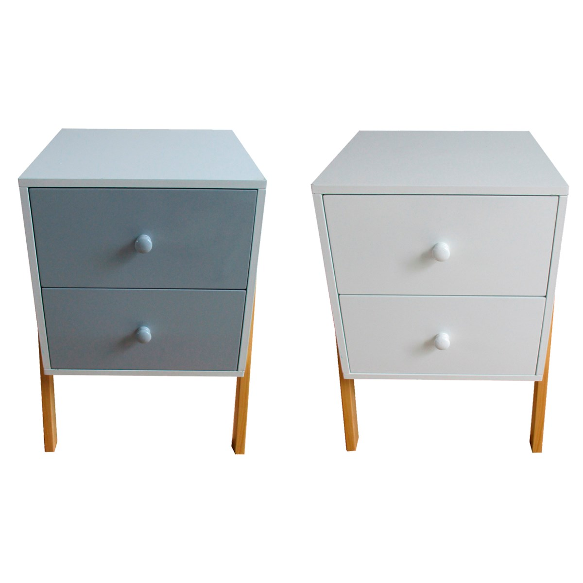 Retro Style Bedside Table Grey Or White